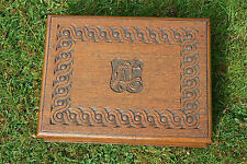 Original Arts and Crafts solid oak writing box hand carved Celtic design c.1900