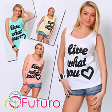 Ladies Vest Top LIVE WHAT YOU Print Sleeveless Cotton T-Shirt Sizes 8-14 FB68