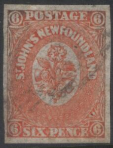 NEWFOUNDLAND 13 1860 6d ORANGE IMPERFORATE HERALDIC FLOWERS USED VF CV $1,600
