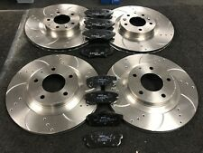 FOR MAZDA RX8 DRILLED GROOVED BRAKE DISCS & MINTEX PADS FRONT REAR