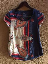 Lucky Brand Paisley Tee T Shirt  Navy Multi Bohemian Festival Ethnic Hippie XS