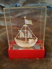 Sailing Ship Mini Model 2' 1/2 Tall, Silver? in Plastic Display Case 4' Tall