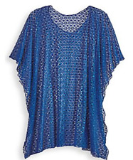 NEW CROCHETED LACE BLUE PONCHO Sealed