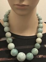 VINTAGE MOSS AGATE BEADED CHUNKY STATEMENT NECKLACE STERLING CLASP SIGNED MJ