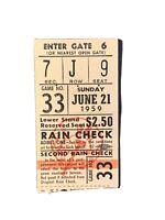 1959 New York Yankees Ticket Stub V Indians Mantle 2 Hits Colavito 2HR Mudcat CG