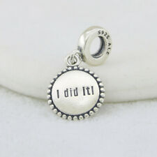 "Disney Pandora Charm ""I Did It"" Run Disney Park Pinks Exclusive Dangle Charm New"