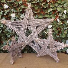 Rustic Wooden Grey Washed Twig Glitter Star Decoration Home Wedding Christmas