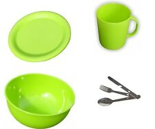 Camping Picnic  Dinner Set -1 Person - Plastic Plate, Bowl, Mug + Cutlery Set