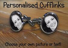 cufflinks round personalised with any photo,image, text. wedding birthday gift