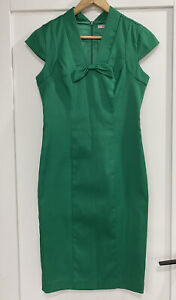 REVIEW Emerald Green Bow Front Pencil Dress Sz 10 Excellent Condition.