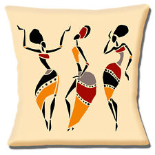 "AFRICAN TRIBAL LADIES DANCING MUSTARD GREY RED BLACK 16"" Pillow Cushion Cover"