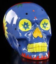 Mexicana Calavera - Cerámica Azul - Gothic Cráneo Dekostatue