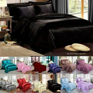 SATIN SILK COMPLETE BEDDING SET DUVET COVER FITTED SHEET 4 PILLOW CASES 6 Pcs