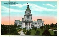 Springfield Illinois State Capitol Building Lincoln Statue Vintage Postcard