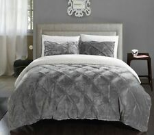 Comforter Set King Size Gray Bedding Sherpa Fur For Warm Bed 3 Piece With Shams