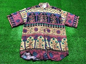 Vintage Goouch Men's Button Front Shirt Size Large Hawaiian Floral Camp Purple