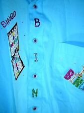 BINGO Shirt Mens 16 1/2 32/33 Milani Italy Blue Long Sleeve Lucky Game Night