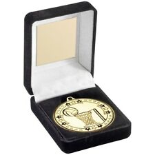 Netball Black Medal Box 50mm Trophy Award Gold 3.5in FREE Engraving NEW