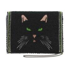 Mary Frances Meow Cat Kitty Mini Feline Black Evening 19 Bead Handbag Bag New