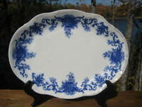 ANTIQUE VICTORIAN LARGE FLOW BLUE PLATTER 16' c1896