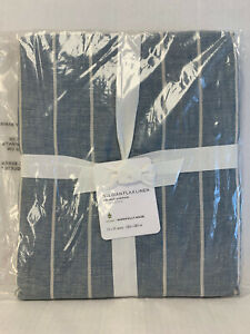 "Pottery Barn Chambray Belgian Flax Linen Striped Shower Curtain 72"" x 72"""