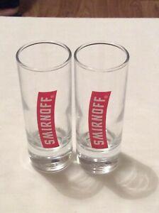 2 x SMIRNOFF VODKA SHOT GLASSES 4 INCHES HIGH
