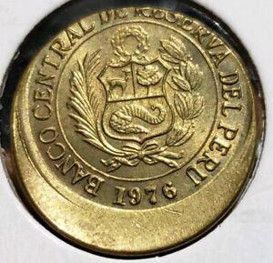 1976 Peru 1/2 Sol 25% Off Center Error. Uncirculated
