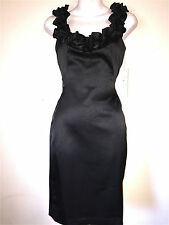 LONDON TIMES WOMENS LADIES LITTLE BLACK SATIN COCKTAIL PARTY FORMAL DRESS ~NWT 4