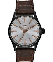 NIXON SENTRY watch black silver bronze with brown leather strap