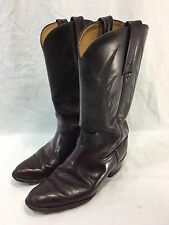 VINTAGE FRYE Mens 8 D WESTERN COWBOY Work Boots BURGANDY EMBROIDERED USA MADE
