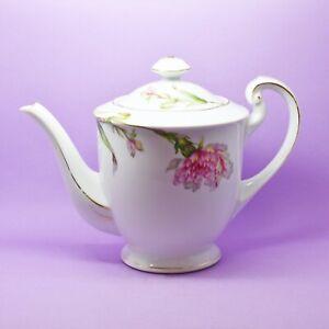 Jyoto Tea Pot Japan White with Pink Flower Teapot Vintage England