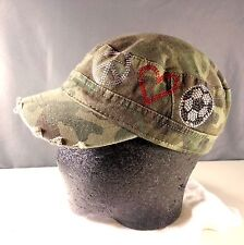 Katydid Distressed Camo Unisex Cadet Hat With Beaded Peace Sign - Adjustable