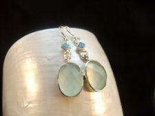 Aqua Chalcedony & Blue Opal  Sterling Silver Earrings
