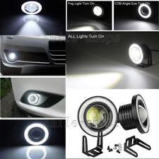 "Pair 3.5"" Projector Car LED Fog Light Headlight White COB Angle Eyes Halo Ring"