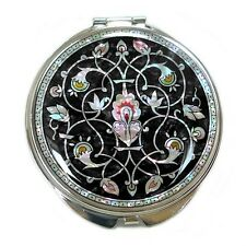 Mother of Pearl Double Black Metal Round Pocket Makeup Compact Cosmetic Mirror