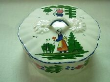 """VINTAGE BLUE RIDGE SOUTHERN POTTERIES """"FRENCH PEASANT"""" ROUND CANDY BOX WITH LID"""