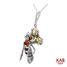 "BALTIC AMBER & STERLING SILVER 925 JEWELRY PENDANT BIG BEE +18""chain. KAB-276"