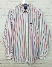 Faconnable Men Dress Shirt Large Striped Button Front Designed in France Cotton