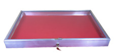 Aluminum Display Case Side Opening 22 x 34x3 1/4 Knives Cards Gun with RED LINER