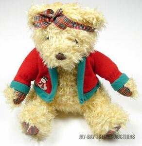 """RARE VINTAGE HALLMARK CARDS INC MERRILY BEAR CHRISTMAS FLUFFY PLUSH DOLL TOY 12"""""""