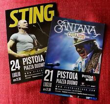 2 double sided promo flyers  PISTOIA BLUES 2015 Santana and Sting Raro! Police