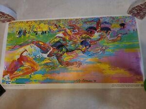 Vintage Leroy Neiman Print Sports Track Sprint Bicentennial 1976 Burger King
