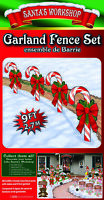 Christmas Santa's Workshop 4-Pc Candy Cane Yard Signs Stakes Garland Fence Set