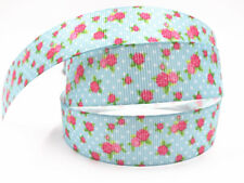 1 Yard 1''25MM Little rose Printed Grosgrain Ribbon Hair Bow Sewing Ribbon