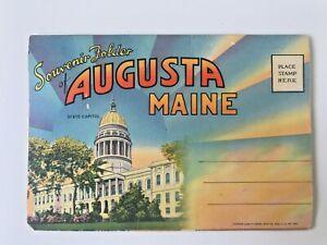 VTG Souvenir Folder Augusta Maine Tichnor Quality Views Augusta News