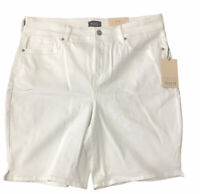 NYDJ Womens Shorts Optic White Size 16 Ella Denim Bermuda Walking $69 NWT