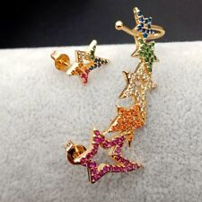 Astmmetrical rainbow cubic zirconia gold filled Star Stud cuff Earring