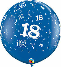 1 x Blue 18th Birthday Giant 3ft Qualatex Latex Balloon Party Decoration