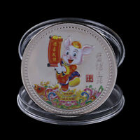 Silver Plated Pig Souvenir Coin Chinese Zodiac Collection Coin Lucky CharacteR8Y