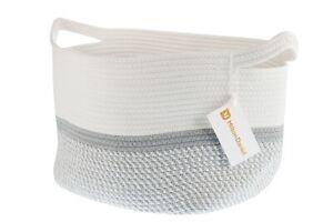 Milton Daniel Grey and White Cotton Rope Basket for Baby Nursery, Bedding, Toys